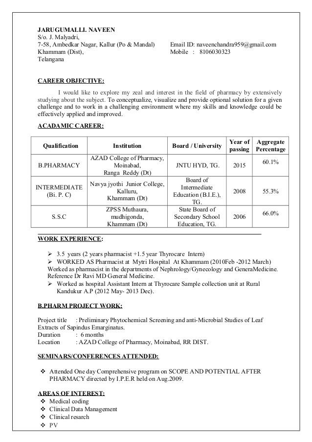 b pharmacy resume