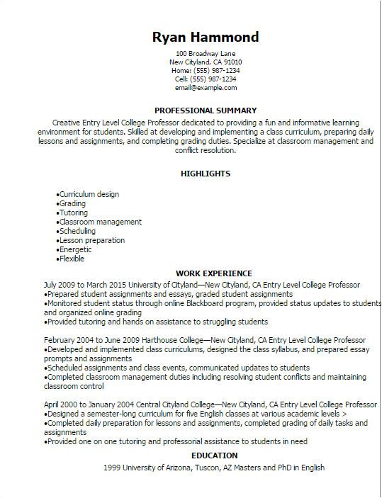 entry level college professor resume