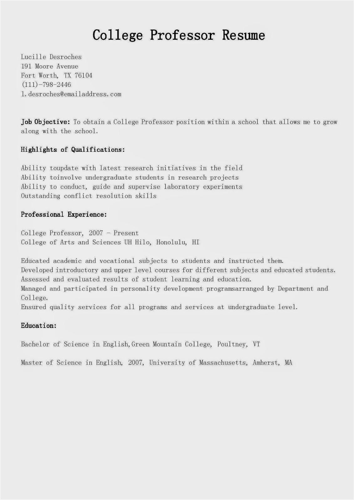 Resume Samples for Professors Resume Samples College Professor Resume Sample
