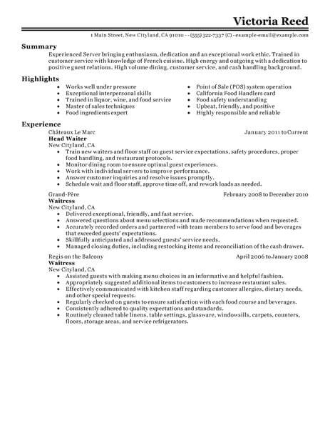 Resume Samples for Restaurant Servers 18 Amazing Restaurant Bar Resume Examples Livecareer