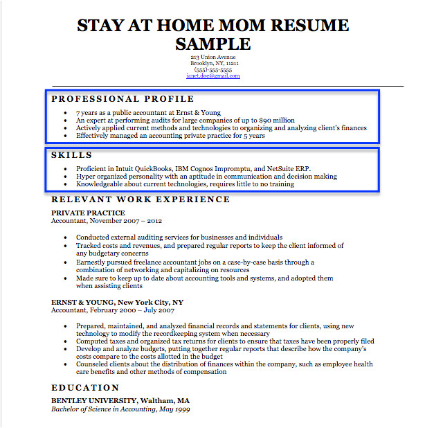 stay at home mom resume sample