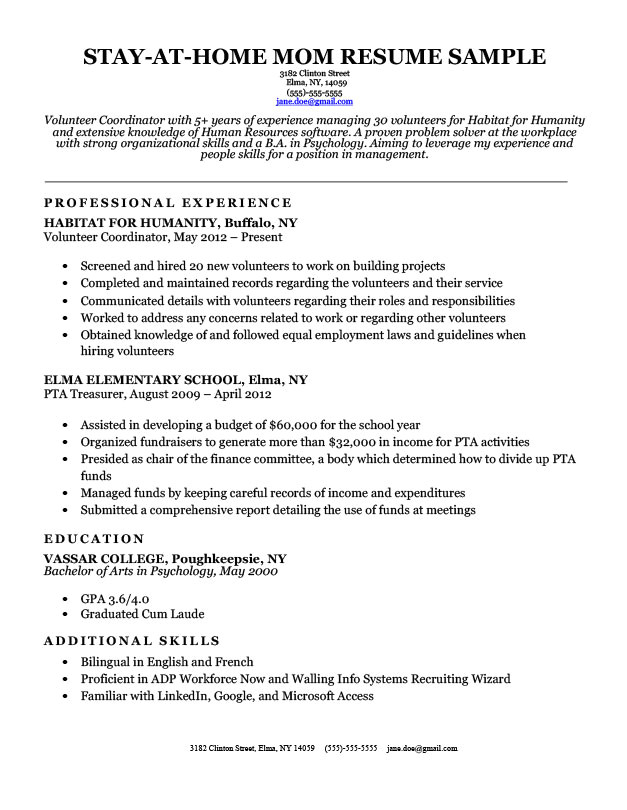 Resume Samples for Stay at Home Moms Stay at Home Mom Resume Sample Writing Tips Resume