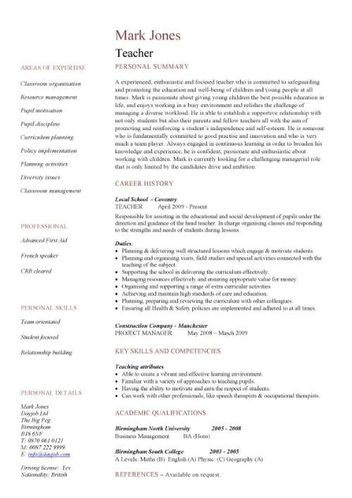 sample resume for teaching profession
