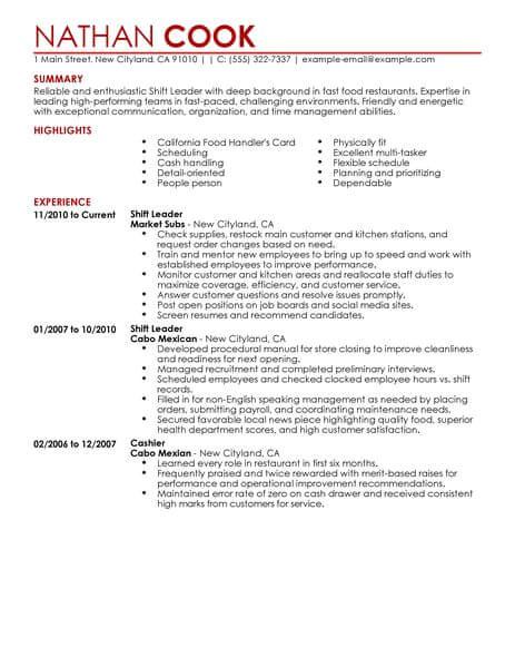Resume Samples for Team Leader Position Shift Leader Resume Sample Leader Resumes Livecareer