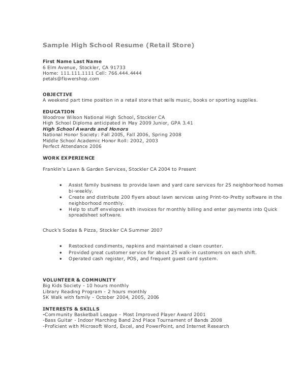 Resume Samples for Teenage Jobs 15 Teenage Resume Templates Pdf Doc Free Premium