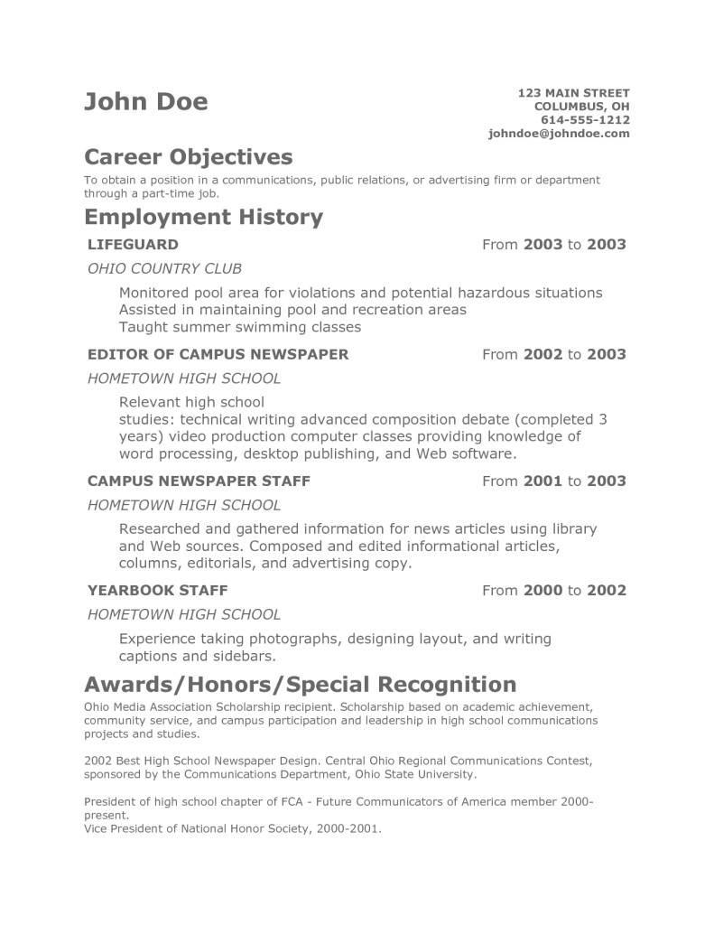 Resume Samples for Teenage Jobs Teen Resume Template Health Symptoms and Cure Com