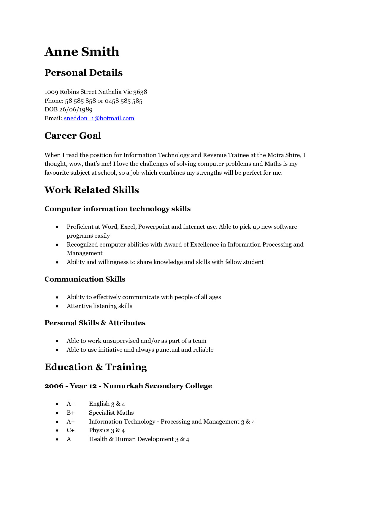 teen resume template 3522