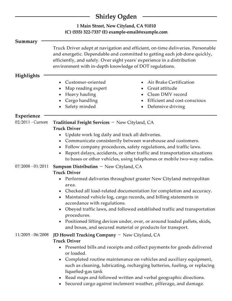 Resume Samples for Truck Drivers with An Objective Best Truck Driver Resume Example Livecareer