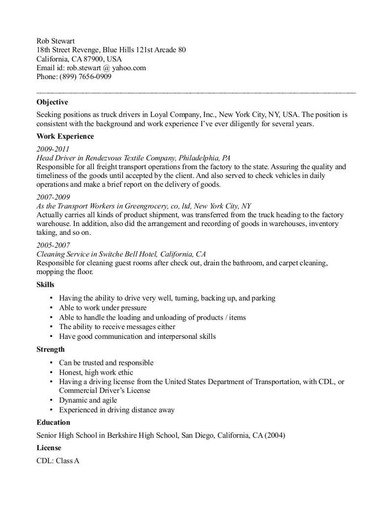 Resume Samples for Truck Drivers with An Objective Cdl Truck Driver Resume Template Resume Template