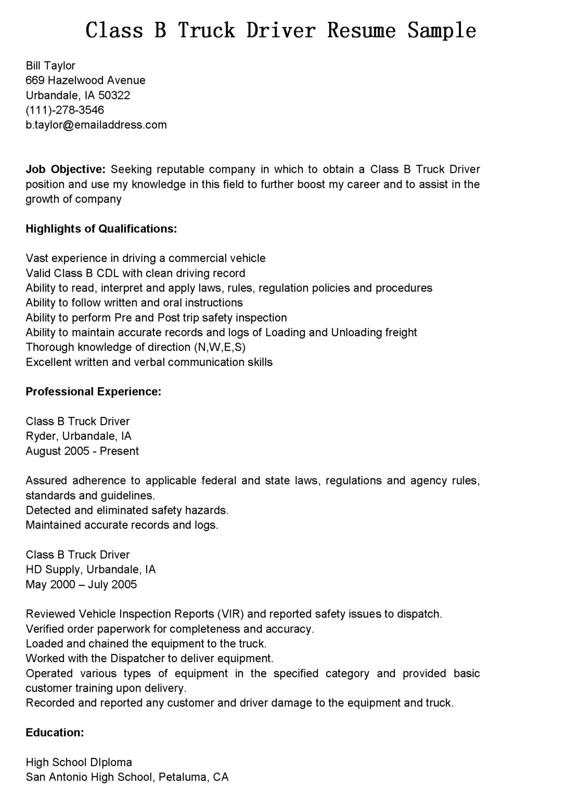 Resume Samples for Truck Drivers with An Objective Driver Resumes Class B Truck Driver Resume Sample
