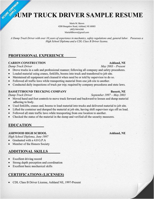 Resume Samples for Truck Drivers with An Objective Resume Objective Examples Truck Driver