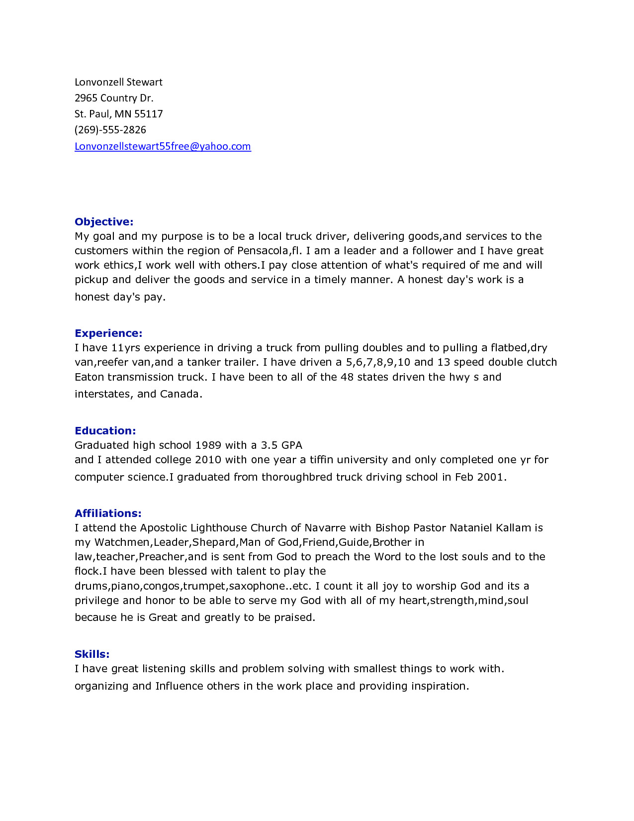 Resume Samples for Truck Drivers with An Objective Truck Driver Resume Best Template Collection