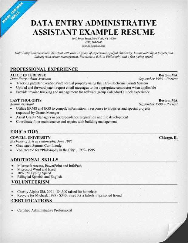 Resume Templates for Administrative Positions Administrative assistant Job Description for Resume