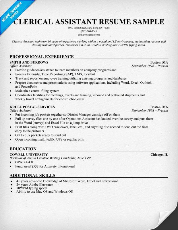 Resume Templates for Administrative Positions Clerical assistant Resume Example Resumecompanion Com