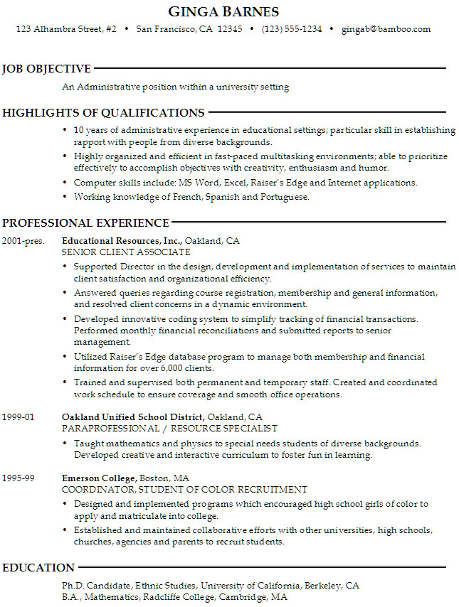 administrative position within a university setting