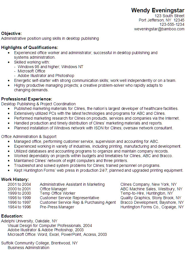 administrative position using skills in desktop publishing
