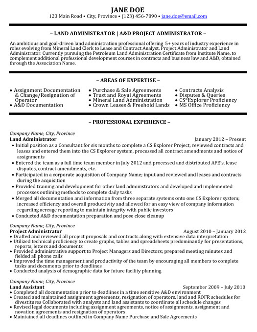 oil gas resume samples