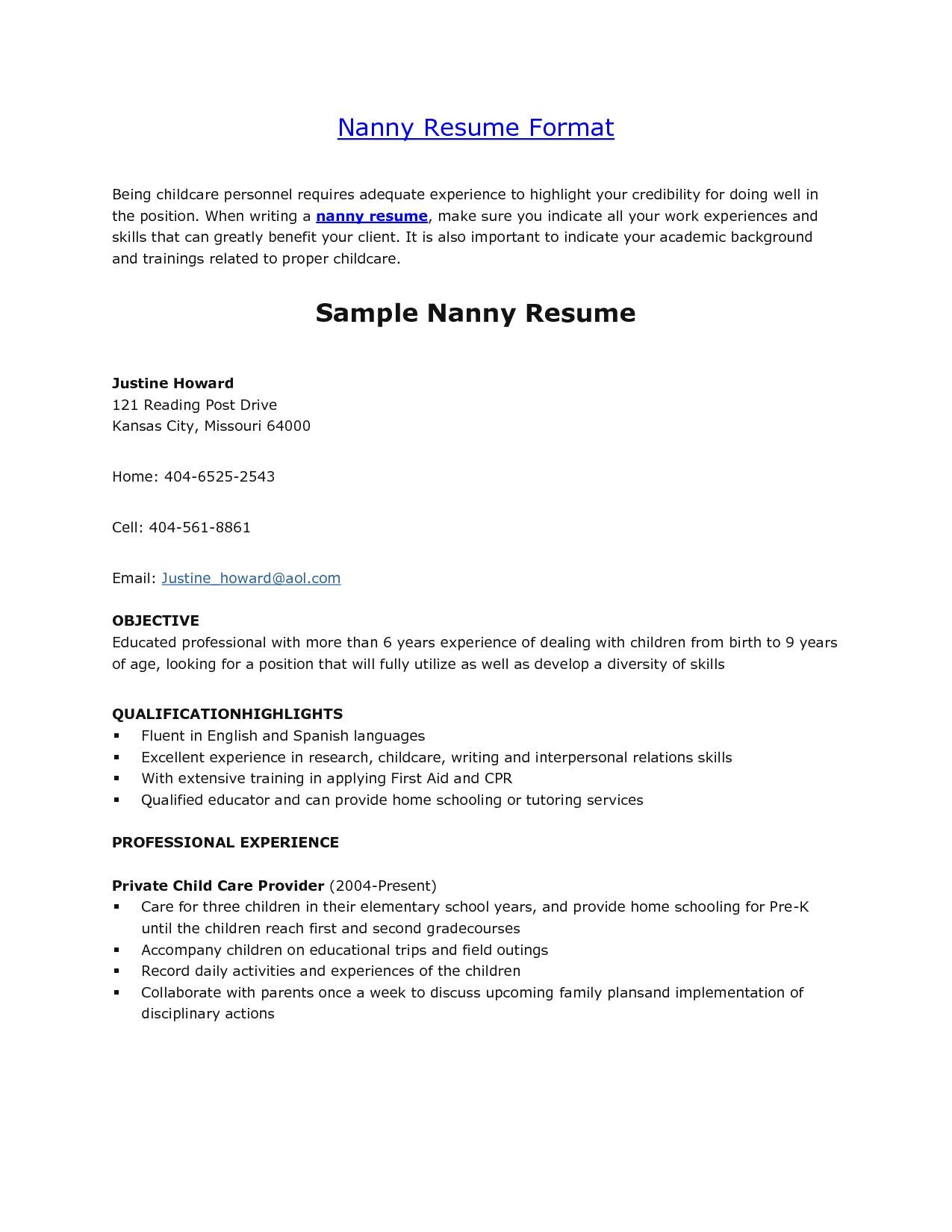 babysitter resume sample template