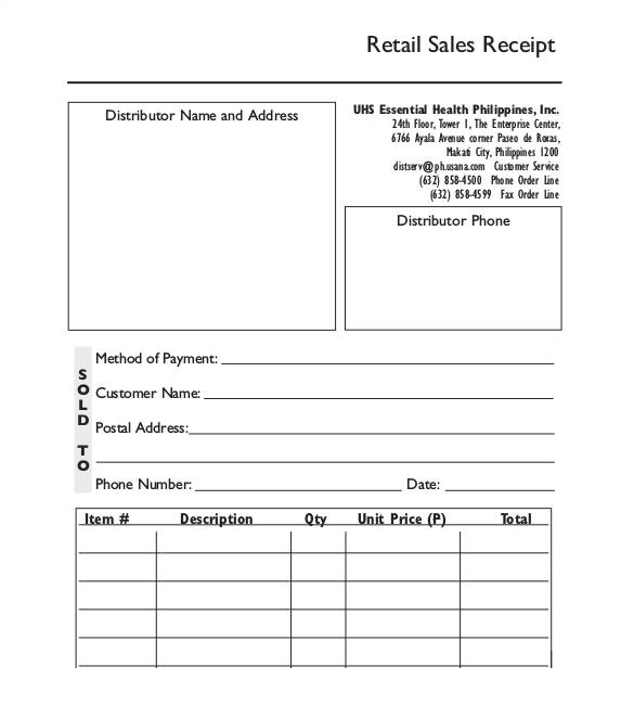 Retail Receipt Template 29 Sales Receipt Templates Doc Excel Pdf Free