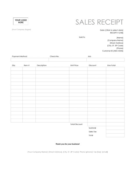 Retail Receipt Template Pos Sales Receipt Template Microsoft Word Templates