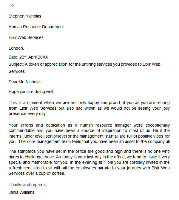 Retirement Letter From Employer to Employee Template 20 Sample Useful Retirement Letters to Download Sample