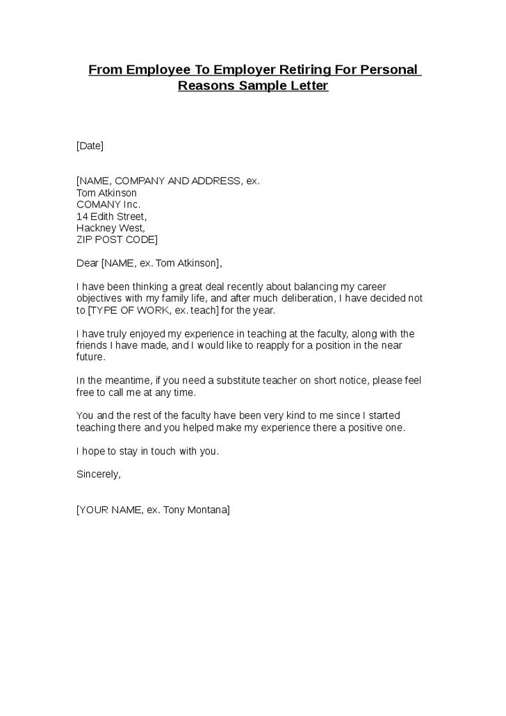 sample letter from employer to employee