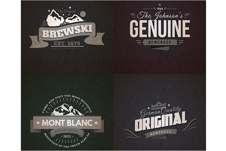 10 realistic vintage logo templates psd