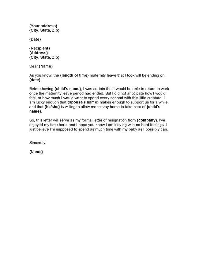 maternity leave letter to employer template