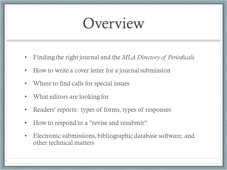 Revise and Resubmit Cover Letter Journals and Manuscript Submissions Ppt Video Online