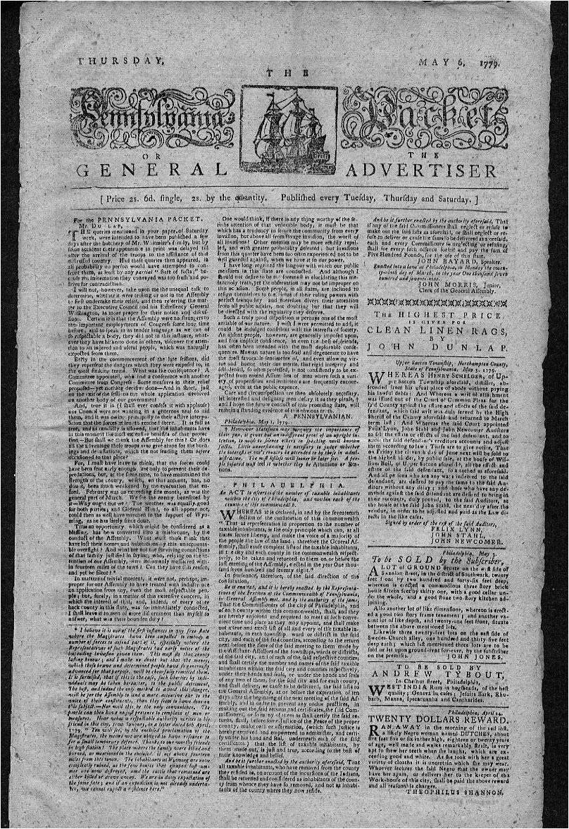 revolutionary war newspaper template