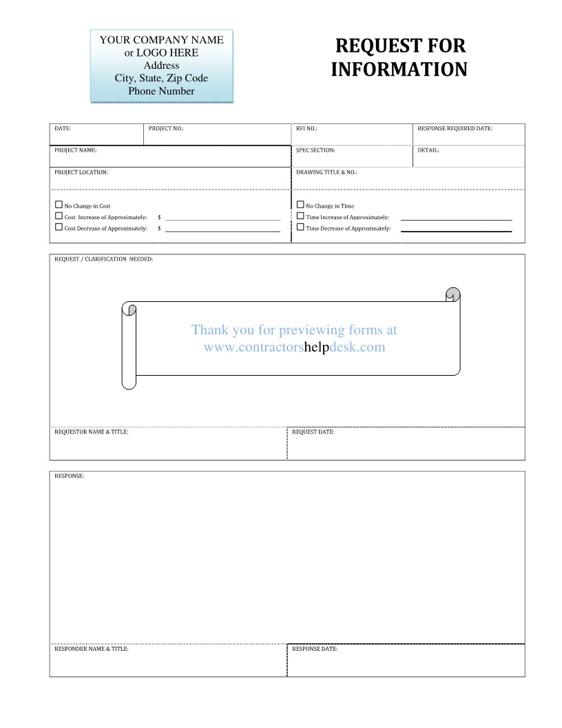 request for information template