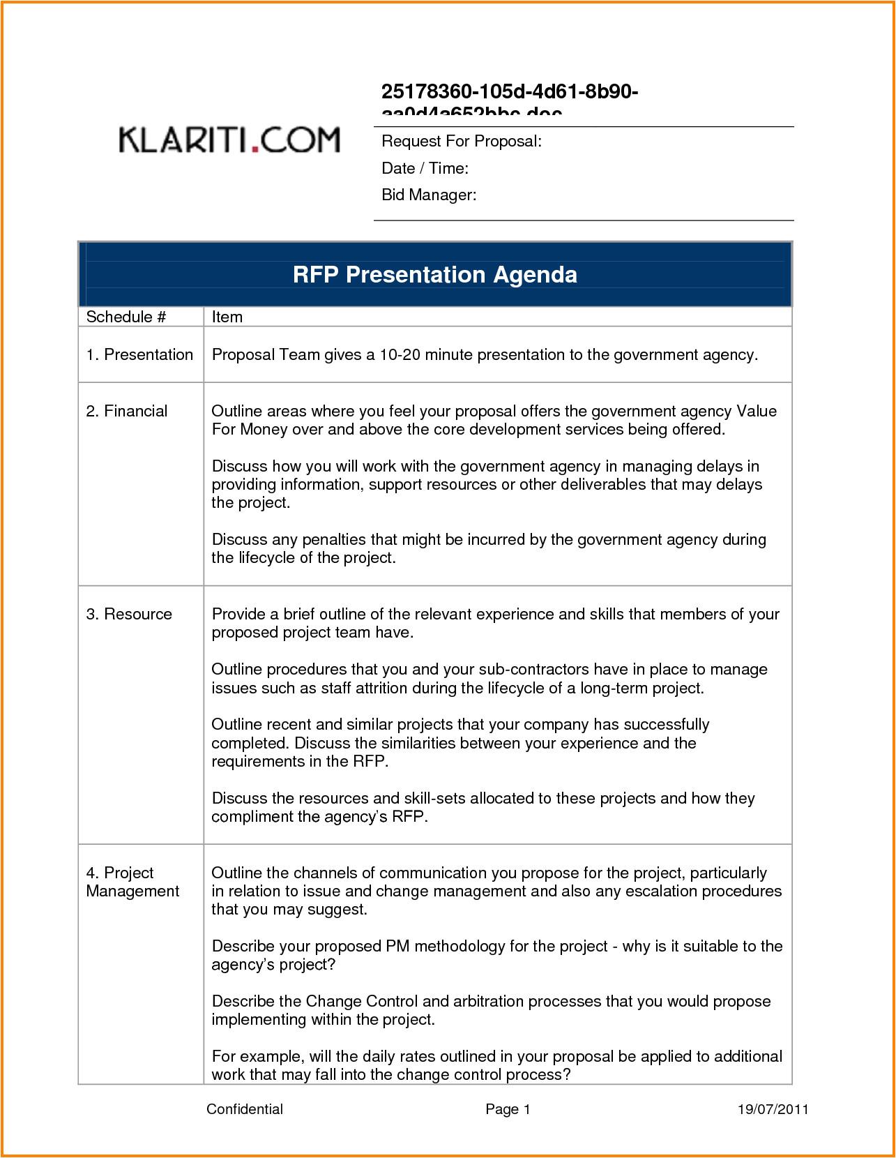 Rfp Presentation Template Presentation Proposal Template One Piece