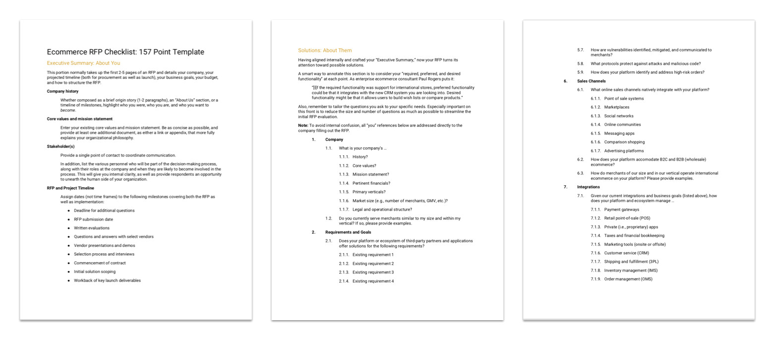 ecommerce rfp template