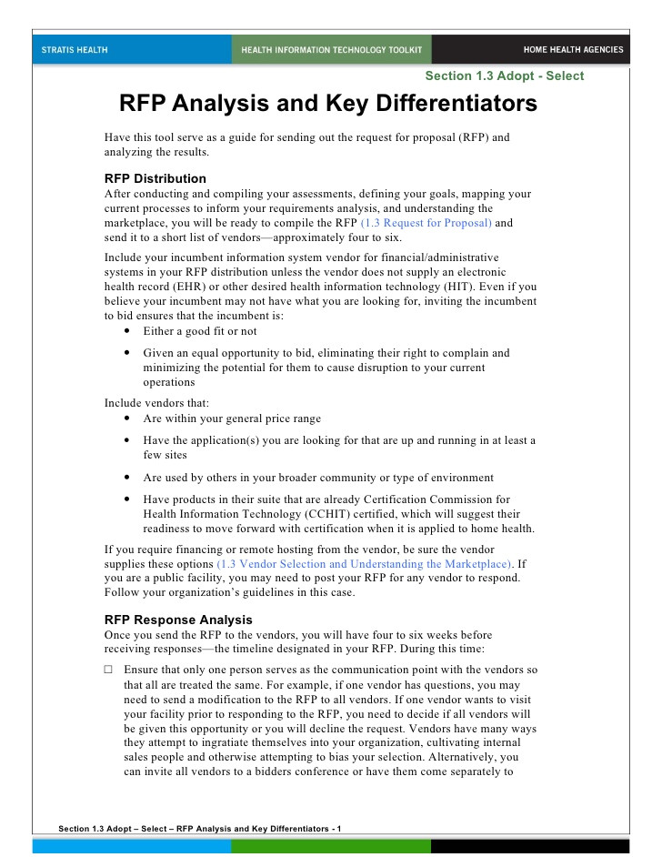 rfp analysis and key differentiators doc