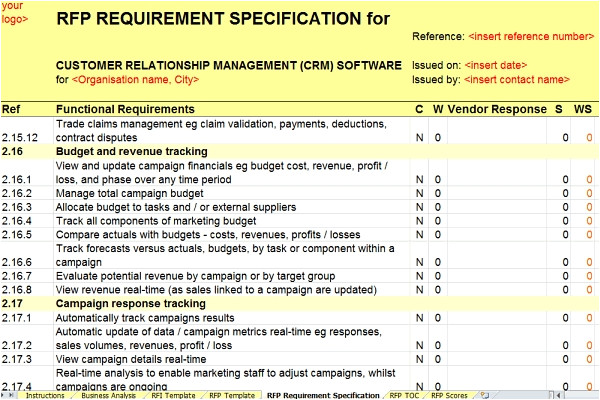 Rfp Requirements Template Revised Crm Rfi Rfp Templates Released by Axia Axia