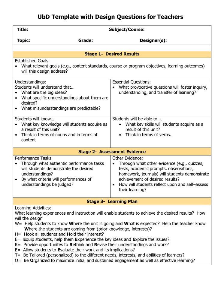 rigorous curriculum design template