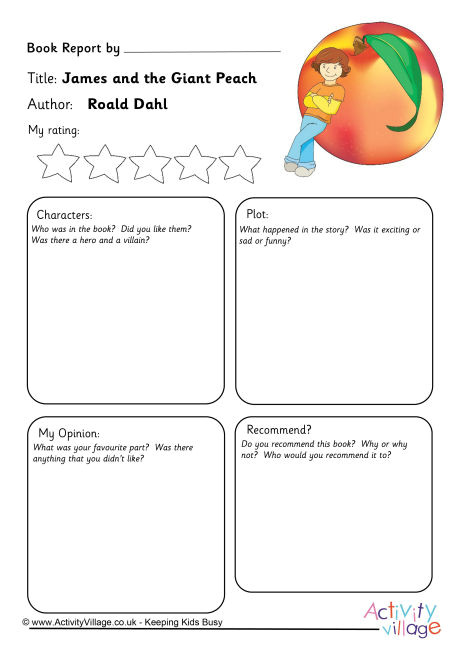 Roald Dahl Book Review Template James and the Giant Peach Book Report