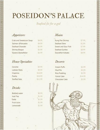 macy60tkysu beige roman bordered line seafood menu