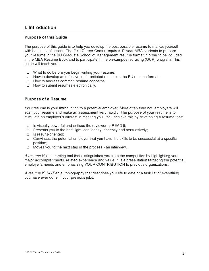business school resume format