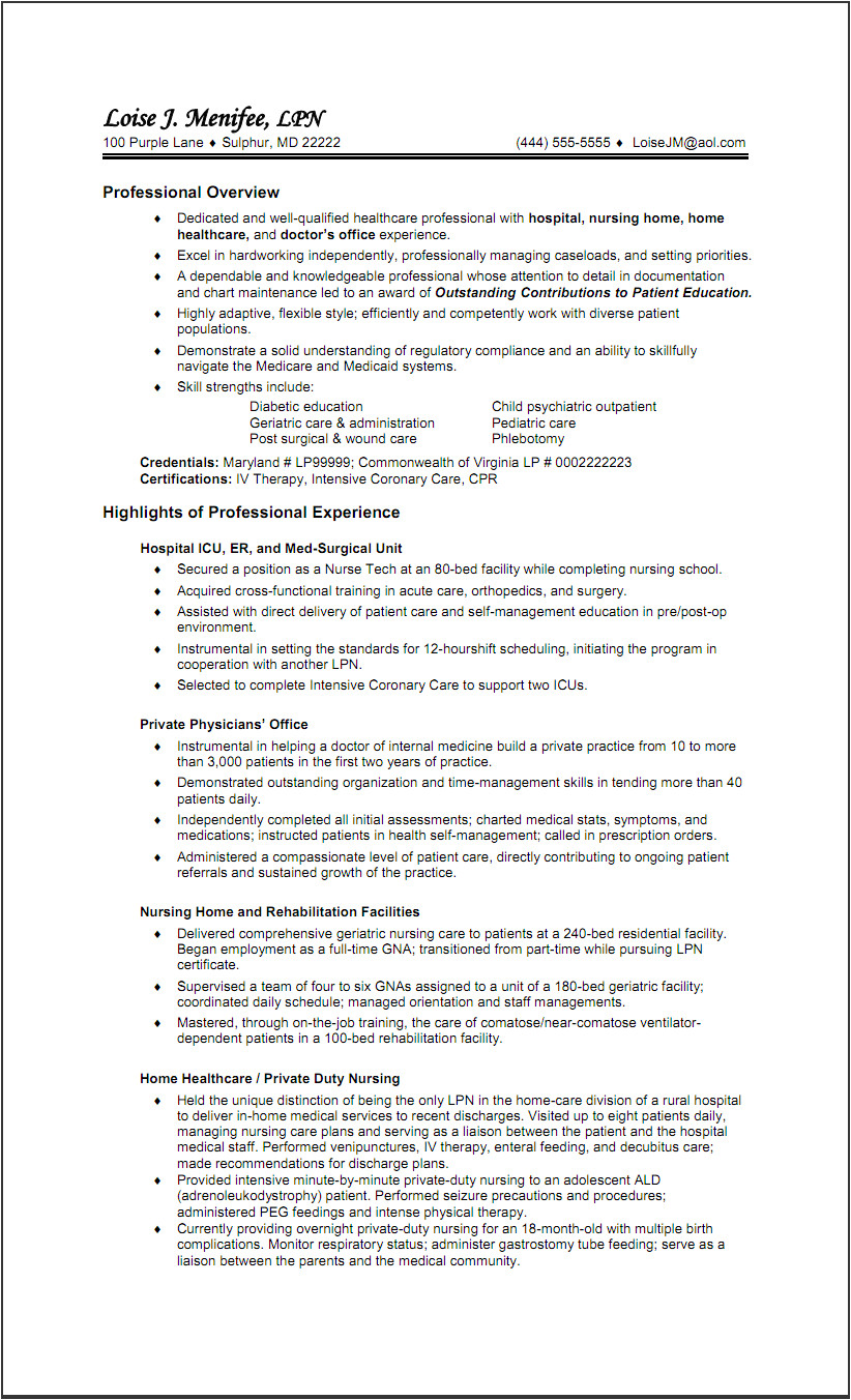 resume example for rpn in home health care