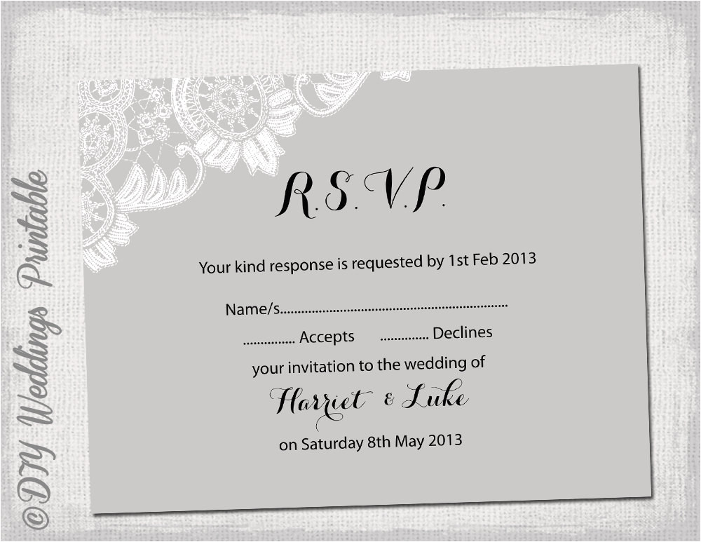 wedding rsvp template download diy