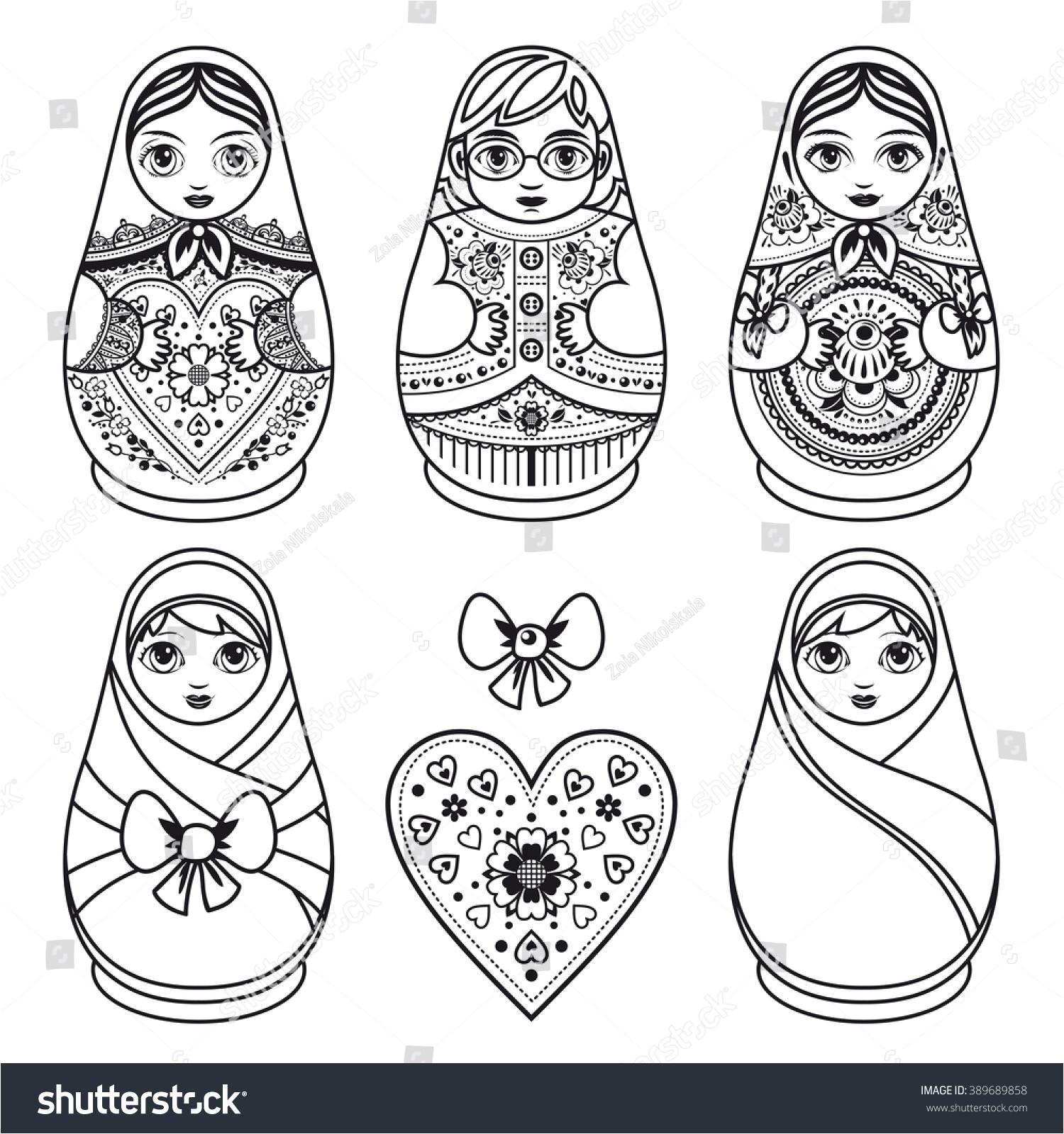 Russian Nesting Dolls Template Matryoshka Russian Folk Nesting Doll Babushka Doll