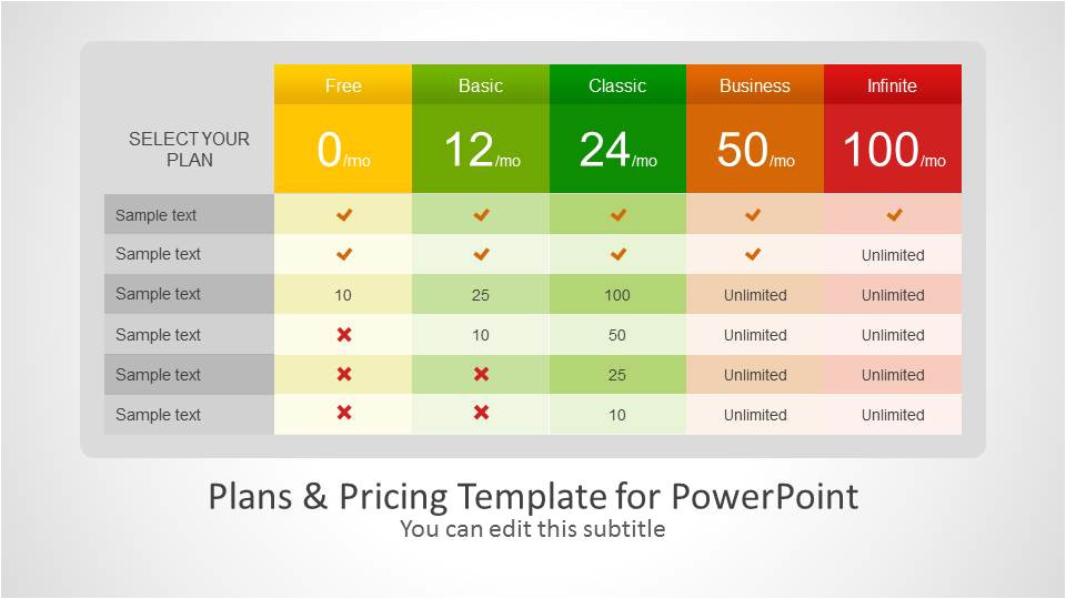 plans pricing template powerpoint
