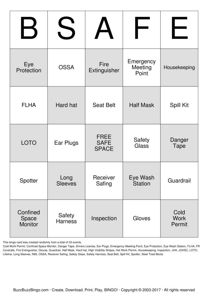 Safety Bingo Template Safety Bingo Cards to Download Print and Customize