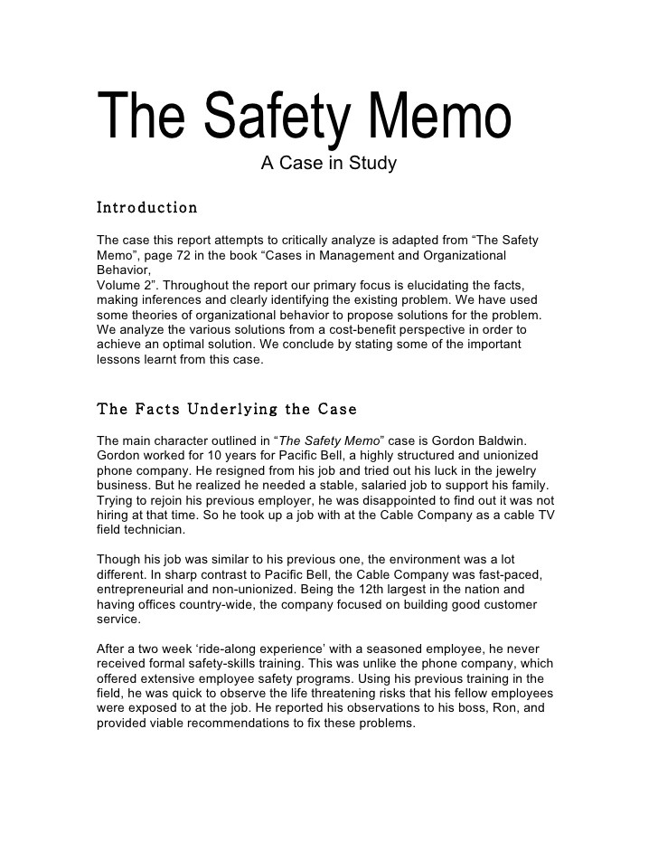 the safety memo 1267687