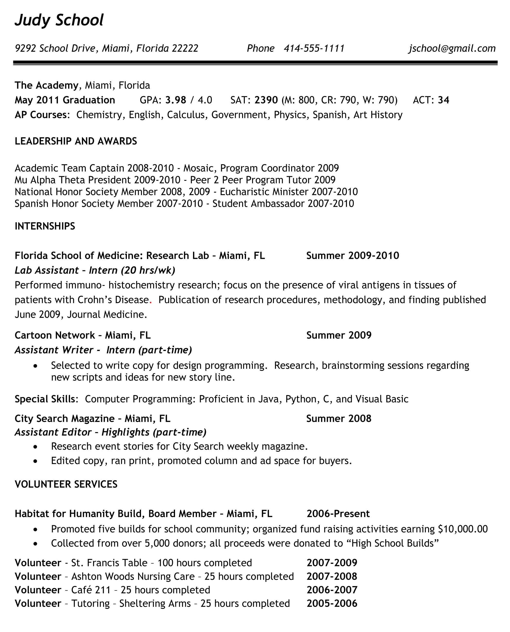 sahm resume examples