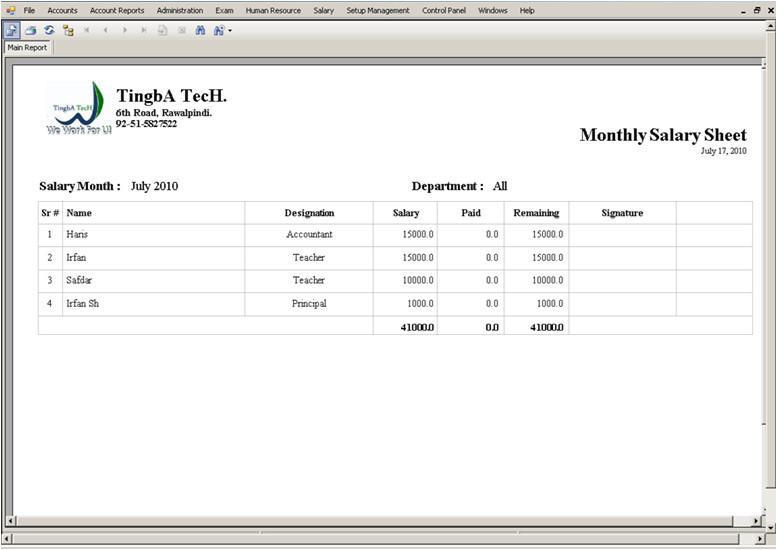salary sheet template