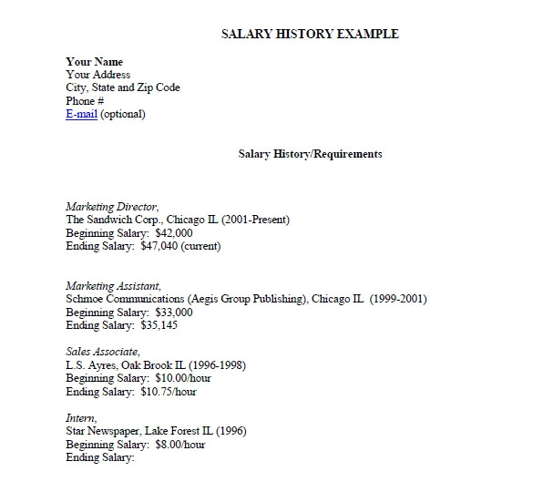 sample salary history template