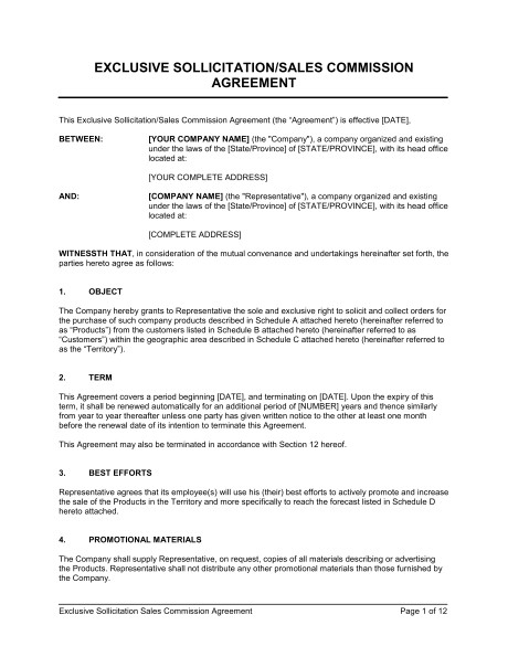 Sales Commision Agreement Template Exclusive sollicitation Sales Commission Agreement