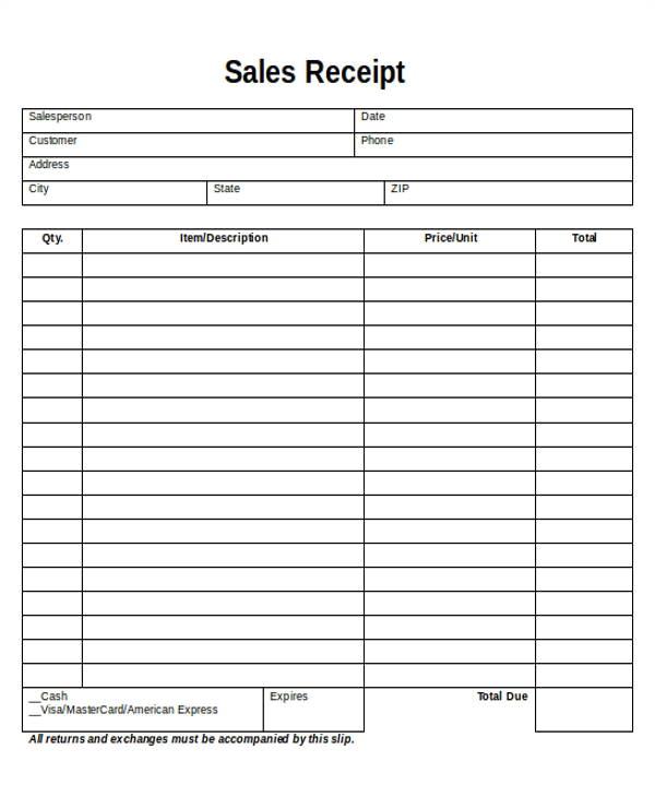 printable sales receipt